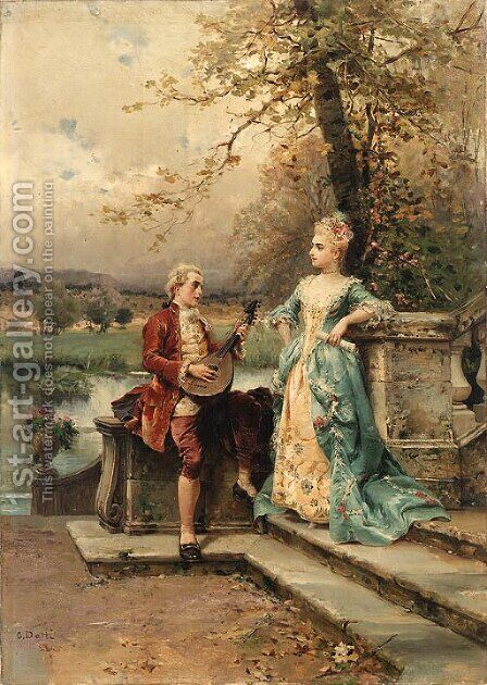 The serenade by Cesare-Auguste Detti - Reproduction Oil Painting
