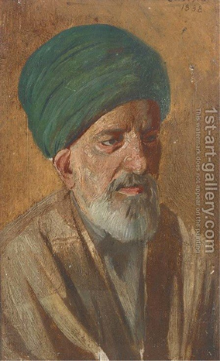Portrait of an Arab, bust-length, in traditional dress by Cesare Biseo - Reproduction Oil Painting