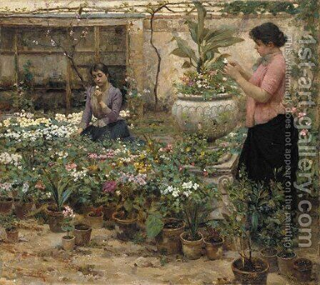 In the Nursery by Cesare Laurenti - Reproduction Oil Painting