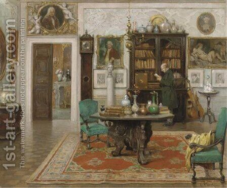 An inviting interior by Cesare Vianello - Reproduction Oil Painting