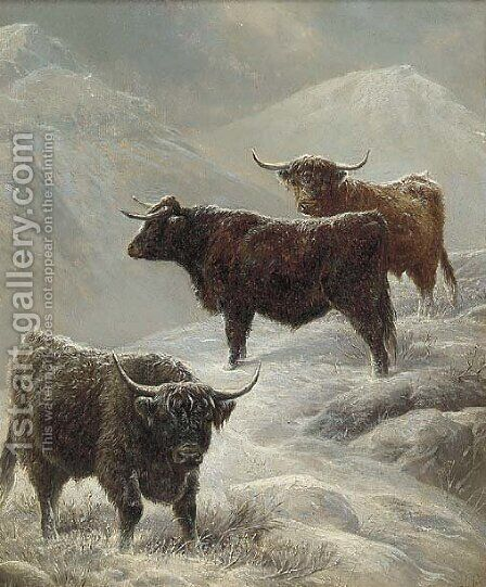 Highland cattle in a mountainous winter landscape by Charles Jones - Reproduction Oil Painting