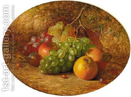 Apples, grapes and a plum, on a mossy bank by Charles Archer - Reproduction Oil Painting