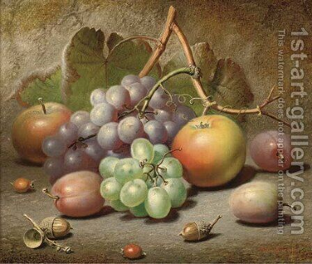 Grapes, apples, plums and acorns on a mossy bank by Charles Archer - Reproduction Oil Painting