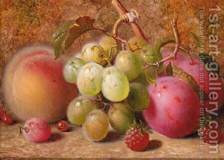 Grapes, plums, raspberries, and a peach, on a mossy bank by Charles Archer - Reproduction Oil Painting