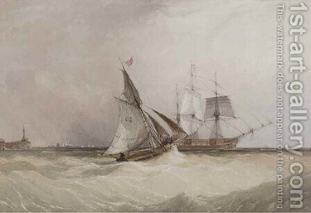 A cutter running out to meet the new arrival by Charles Bentley - Reproduction Oil Painting
