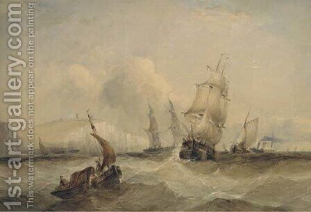 The crowded Channel off Dover by Charles Bentley - Reproduction Oil Painting