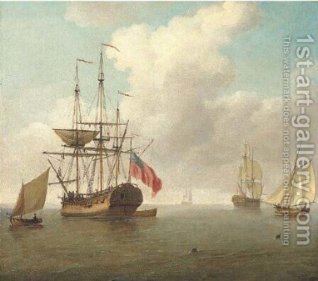 A small man-'o'-war at anchor with cutters under sail by Charles Brooking - Reproduction Oil Painting