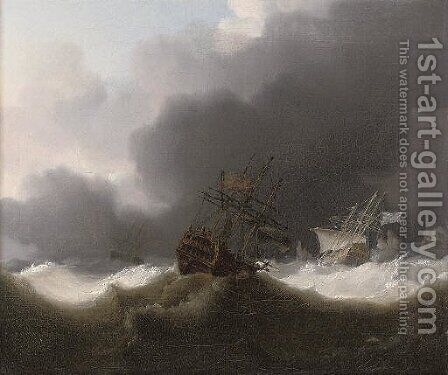Ships of the Red Squadron reefed down in a gale by Charles Brooking - Reproduction Oil Painting