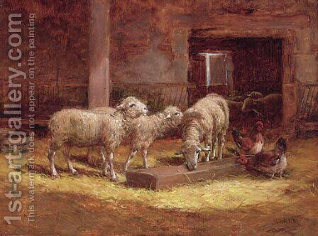 Sheep and chickens in a barn by Charles Clair - Reproduction Oil Painting
