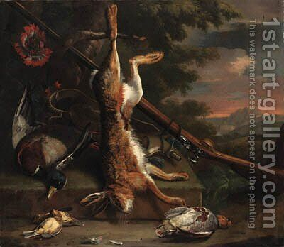 Still life of dead game, with a hare, a mallard, an English partridge and other birds with a gun by a tree, in a wooded landscape by Charles Collins - Reproduction Oil Painting