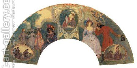 Fete Galante Fan by Charles Conder - Reproduction Oil Painting