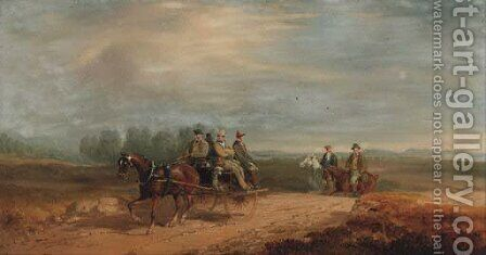 Figures in a jaunting car by Charles Cooper Henderson - Reproduction Oil Painting