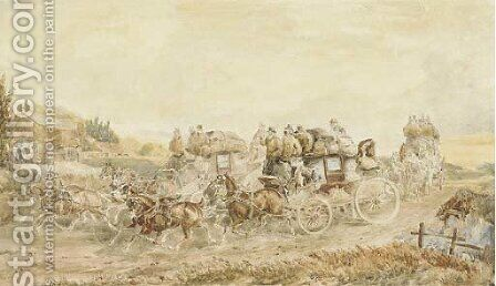 Two opposition coaches passing at speed by Charles Cooper Henderson - Reproduction Oil Painting