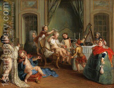 Jeux d'enfants  la toilette by Charles-Antoine Coypel - Reproduction Oil Painting