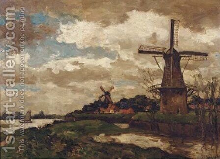 Omgeving Woudrichem windmills by a river by Charles Dankmeijer - Reproduction Oil Painting
