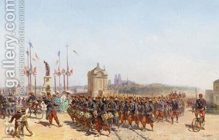 Leaving Blois by Charles-Dominique-Oscar Lahalle - Reproduction Oil Painting