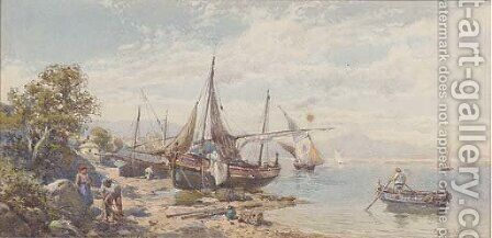 Fishing craft beached on the Neapolitan coast by Charles Rowbotham - Reproduction Oil Painting