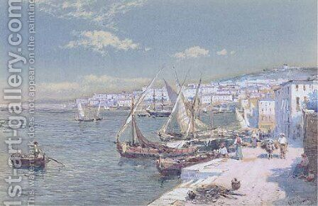 On the waterfront at Naples by Charles Rowbotham - Reproduction Oil Painting
