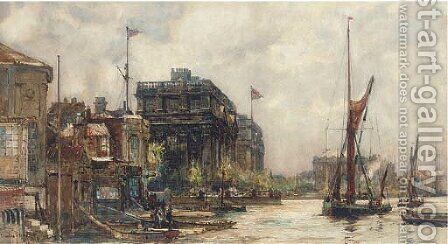 Barges on the Thames before Greenwich Hospital by Charles Edward Dixon - Reproduction Oil Painting