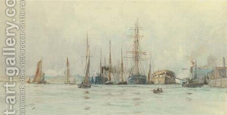 Hulks and other shipping moored at a wharf by Charles Edward Dixon - Reproduction Oil Painting