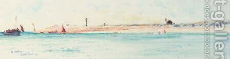 Off Hayling Island by Charles Edward Dixon - Reproduction Oil Painting