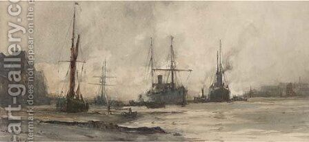 Off Rotherhithe by Charles Edward Dixon - Reproduction Oil Painting