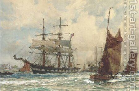 Off Tilbury by Charles Edward Dixon - Reproduction Oil Painting