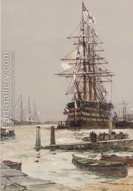 The training ship H.M.S. St. Vincent lying off Gosport by Charles Edward Dixon - Reproduction Oil Painting