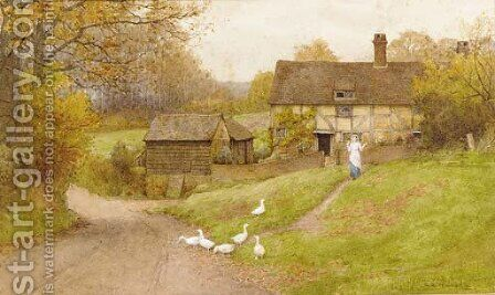 A milkmaid and geese before a cottage in a wooded landscape by Charles Edward Wilson - Reproduction Oil Painting