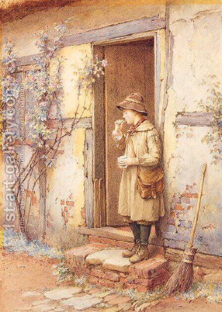 Blowing Bubbles by Charles Edward Wilson - Reproduction Oil Painting
