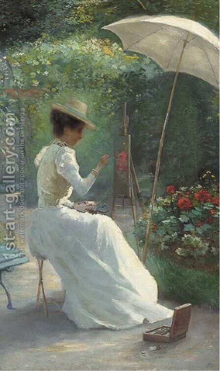 A young lady painting in the garden by Charles Endres - Reproduction Oil Painting