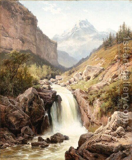 A mountainous ravine by Charles Euphraisie Kuwasseg - Reproduction Oil Painting