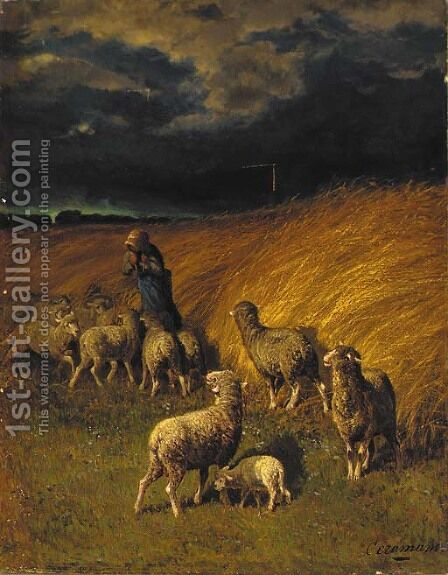A sheperdess with her flock before a storm by Charles Ferdinand Ceramano - Reproduction Oil Painting