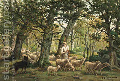 Shepherdess and Her Flock by Charles Ferdinand Ceramano - Reproduction Oil Painting