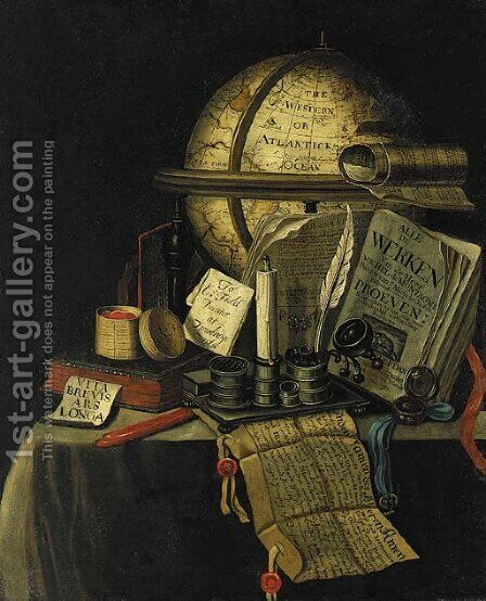 A Vanitas still life with a globe showing the Americas by Charles Field - Reproduction Oil Painting