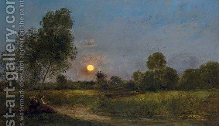 Lever de lune (Moonrise) by Charles-Francois Daubigny - Reproduction Oil Painting