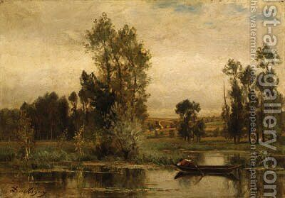 Barque sur l'tang (Boat on the Pond) by Charles-Francois Daubigny - Reproduction Oil Painting