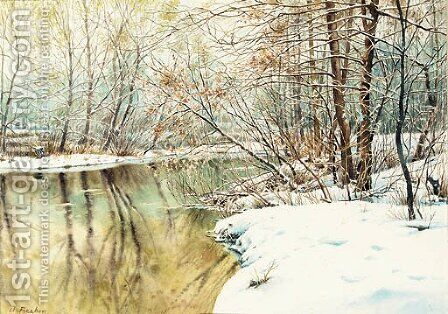 A snowy river landscape by Charles Frechon - Reproduction Oil Painting