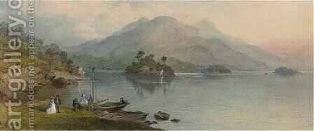 Figures on the edge of Lake Killarney by Charles Frederick Buckley - Reproduction Oil Painting