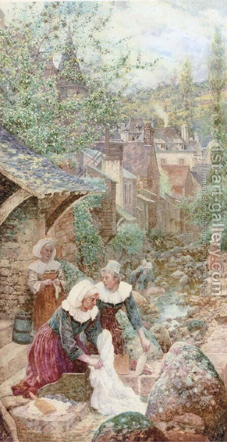 Washerwomen by the stream by Charles Jun Gregory - Reproduction Oil Painting
