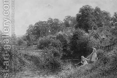 Young Girls collecting Water from a Stream, near Haslemere, Surrey by Charles Gregory - Reproduction Oil Painting