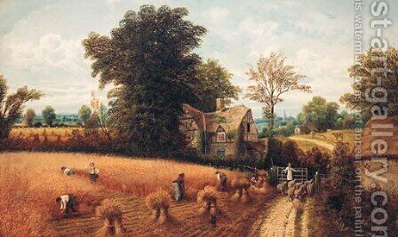 Countryfolk harvesting, near Reading by Charles Henry Passey - Reproduction Oil Painting