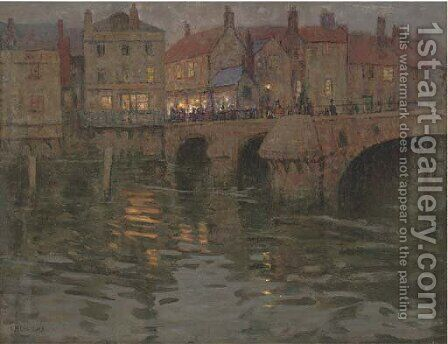 The town bridge, on a summer's evening by Charles Herbert Eastlake - Reproduction Oil Painting
