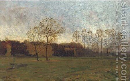 Dusk in the meadow by Charles Hippolyte Andre - Reproduction Oil Painting