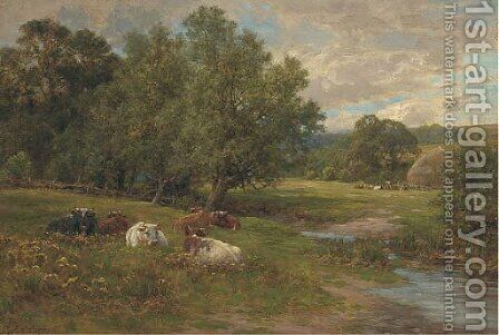 Cattle resting by a brook by Charles James Adams - Reproduction Oil Painting