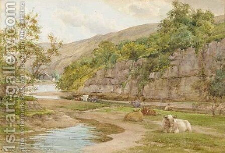 Cattle resting on the banks of a river with a fisherman beyond by Charles James Adams - Reproduction Oil Painting