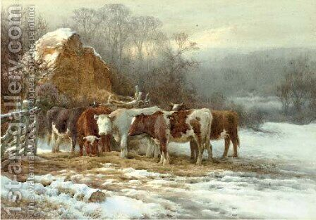 Wintertime, cattle by a fence by Charles James Adams - Reproduction Oil Painting