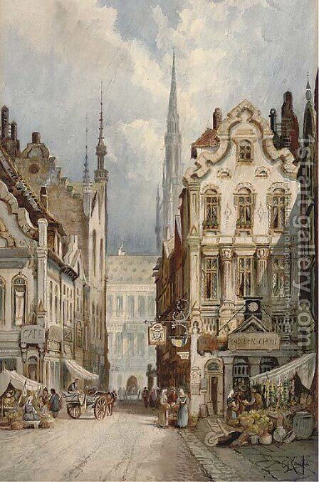 Market stalls, Brussels by Charles James Keats - Reproduction Oil Painting