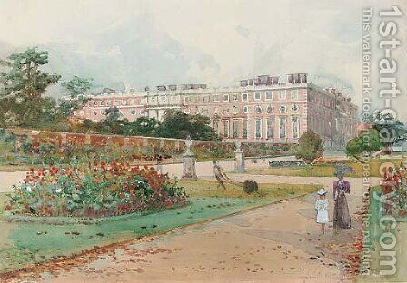 In the gardens, Hampton Court Palace by Charles James Lauder - Reproduction Oil Painting