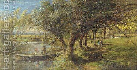 Fishing in a punt by Charles James Lewis - Reproduction Oil Painting